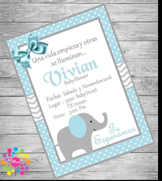Invitaciones Baby Shower Elefante ~ InvitaciÓn baby shower elefante para niño por ideasglint