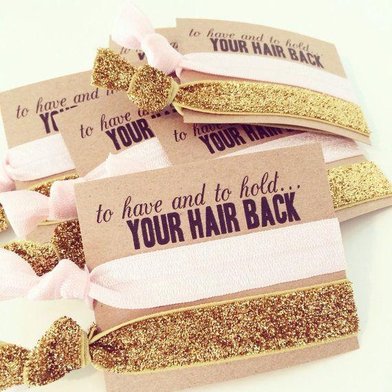 Hair Tie Bachelorette Favor Light Pink Gold Glitter By LoveMiaCo