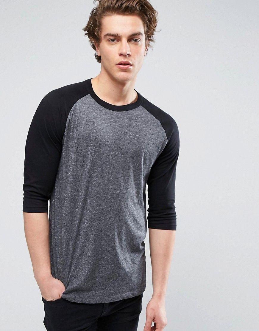 New look sleeve raglan tshirt in black black newlook cloth