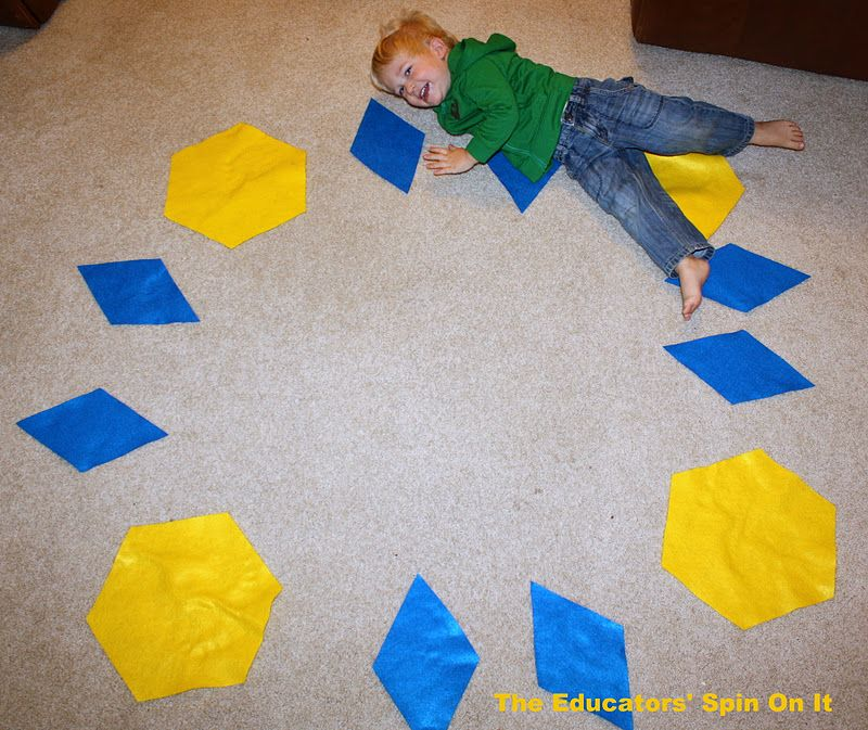 Giant Pattern Blocks - Teaching Math to Tots with Movement