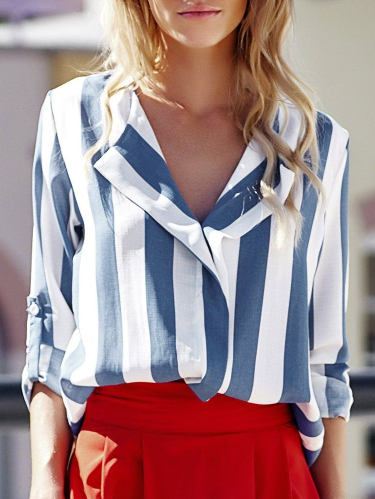 0e7a9fb86b Stylish Turn-Down Collar Long Sleeve Vertical Striped Loose-Fitting Blouse  For Women