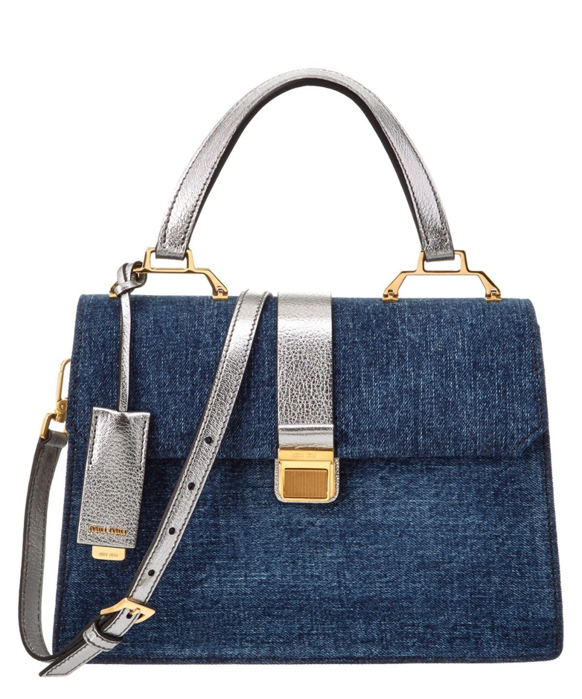 MIU MIU Miu Miu Madras  Amp  Denim Top Handle Satchel .  miumiu  bags   lining  denim  satchel  shoulder bags  suede  hand bags   169fddd699229