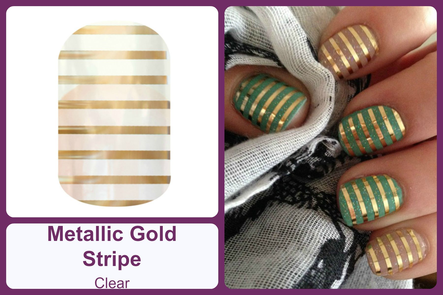 METALLIC GOLD STRIPE Jamberry Nail Wrap #metallicgoldstripejn