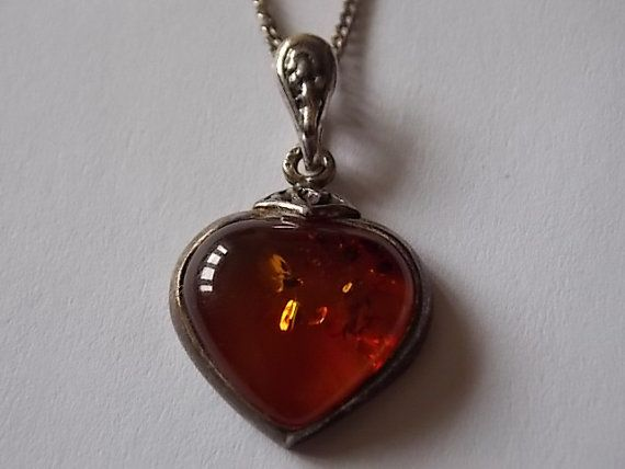Amber Silver Heart Necklace  SUPER by BraceletstoBuckles on Etsy
