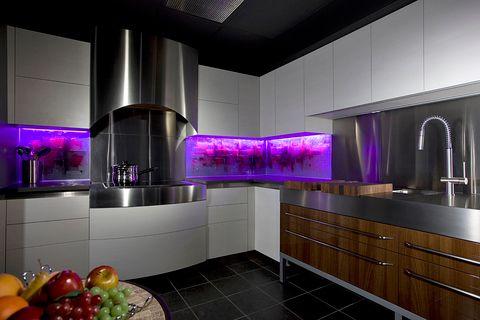 Lighted Purple Backsplash Kitchen Decor Ideas Remodel Architecture