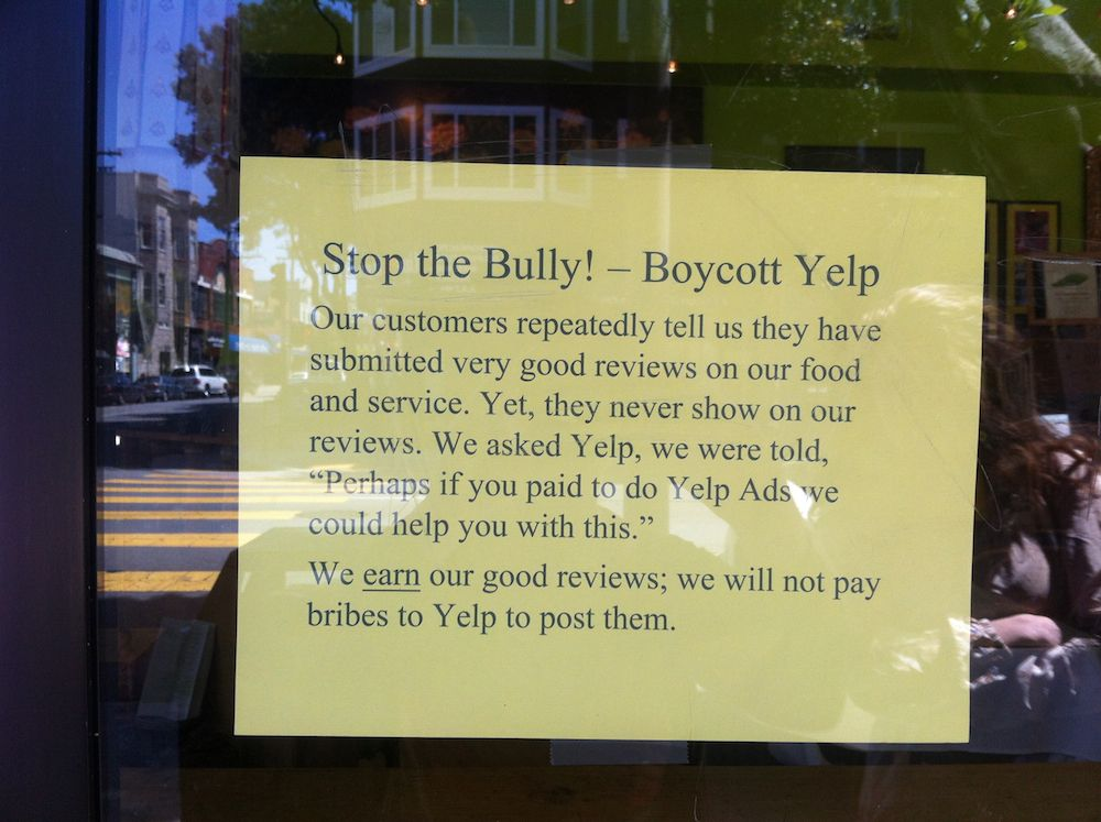 Sf restaurant calls for yelp boycott: stop the bully just stuff