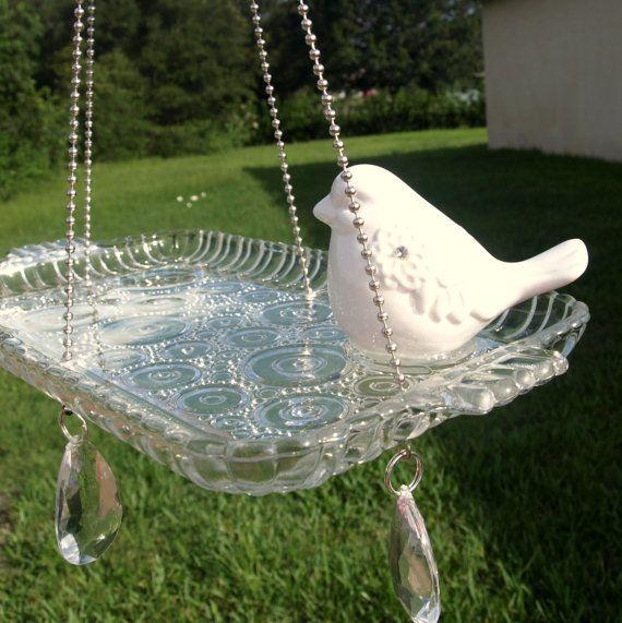 RESERVED for Ariel - Vintage Snack Set Hanging Bird Feeder Glass Bullseye repurposed