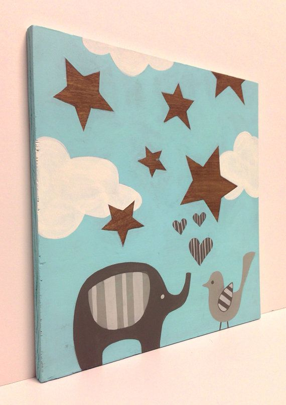 Handpainted Nursery Art On Wood Elephant Decor Kids Wall Painting And Bird Gray Blue White Boys Room Etsy 60 00