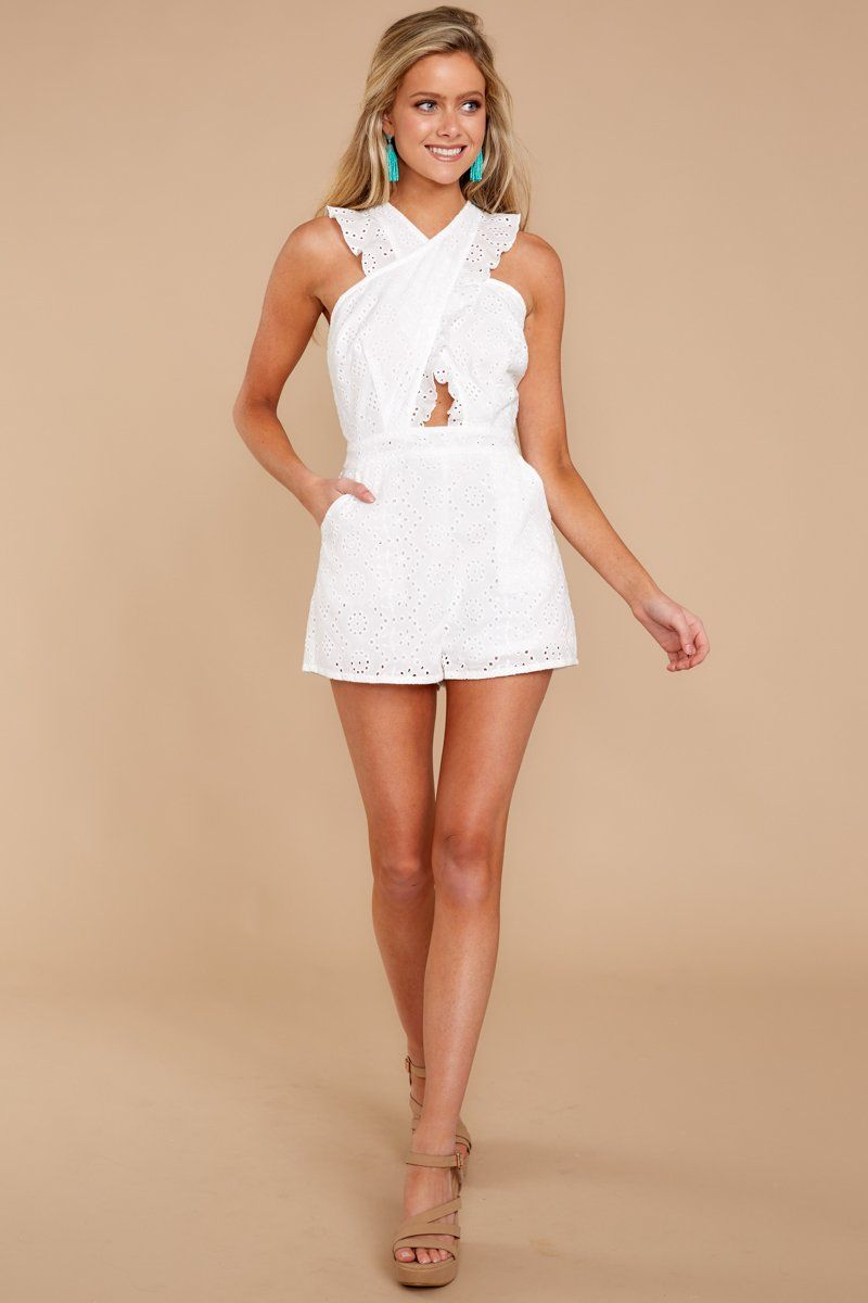 3c5ca0a18ad Crochet White Romper - Cute Romper - Eyelet Romper -  49.00 – Red Dress  Boutique