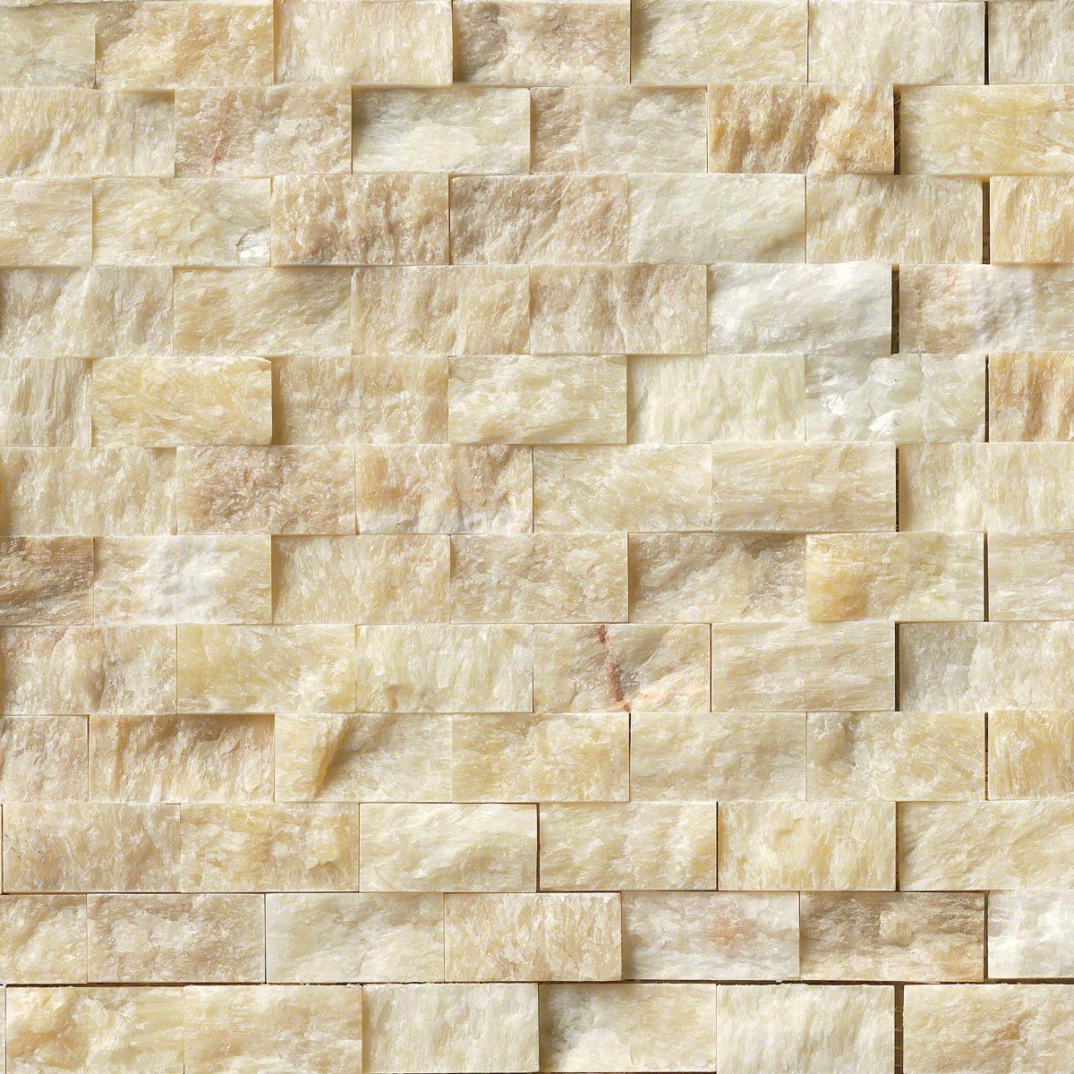 Soleil Onyx 1x2 Splitface In 12x12 Mesh Stacked Stone Tile Stacked
