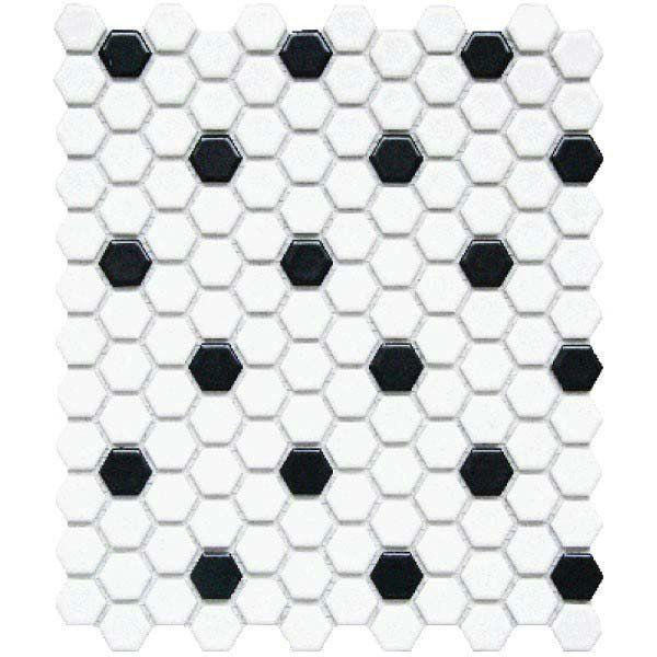 Cc Mosaics 12 X12 White Black Matte Glazed 1x1 Hexagon Mosaic American Fast Floors Black White Tiles Honeycomb Tile Mosaic