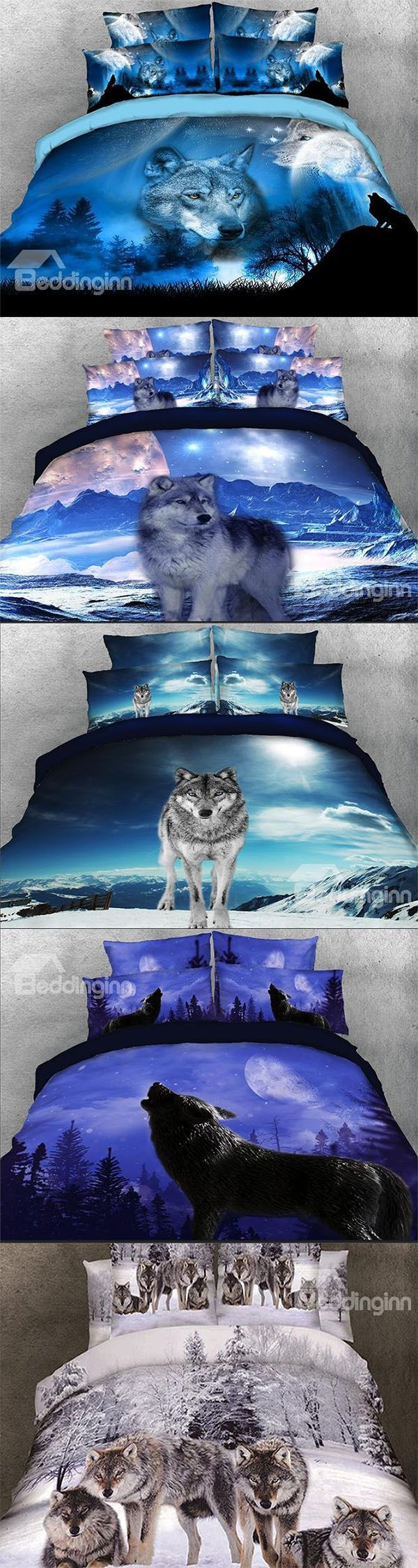 Celebrate your love for wildlife by 3D wolf printed bedding sets. This beautiful bedding set features a lone gray wolf, isolated from the pack, this wolf makes his own way, independent, majestic and noble.