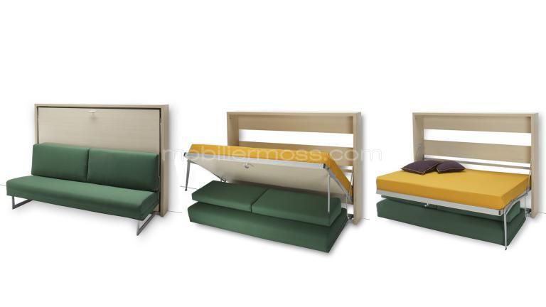 lit canape modulable escamotable plianble moderne petit espace mobilier moss ouvert 3 etape. Black Bedroom Furniture Sets. Home Design Ideas