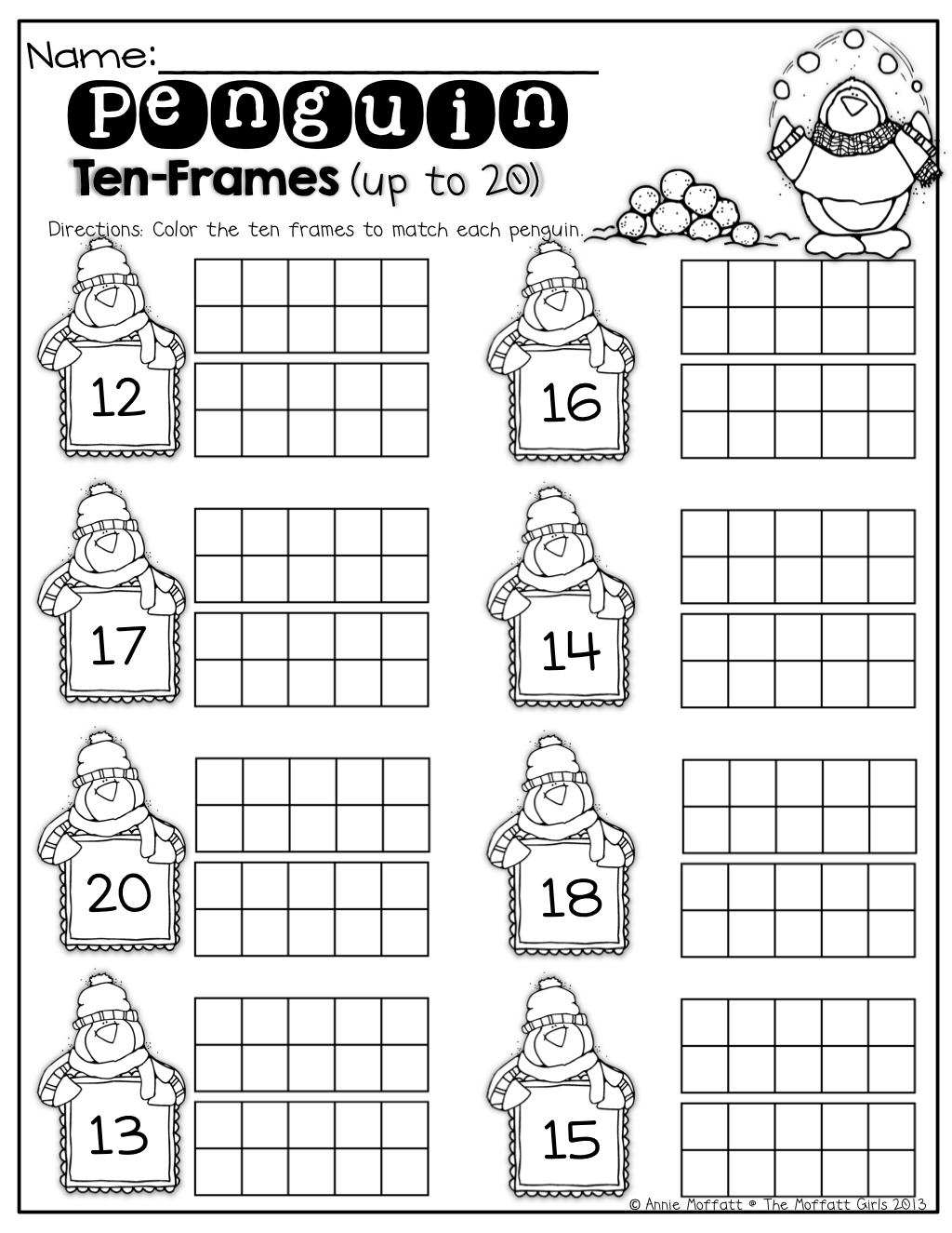 Penguin Ten Frames Up To 20