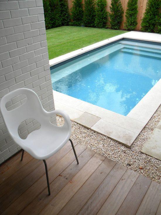 Interior Design, Modern Pool Design From Landscape Design Austin Also  Charming Gravels Also Charming Green Field Design Also Untreated Woode.