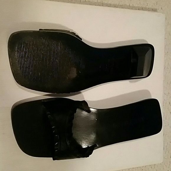 Ann Taylor square toe black Leather Sandals Slightly used and kept in a box. In like new condition.  Has ruffles around the band. Size is 8.5 M. Ann Taylor Shoes Sandals