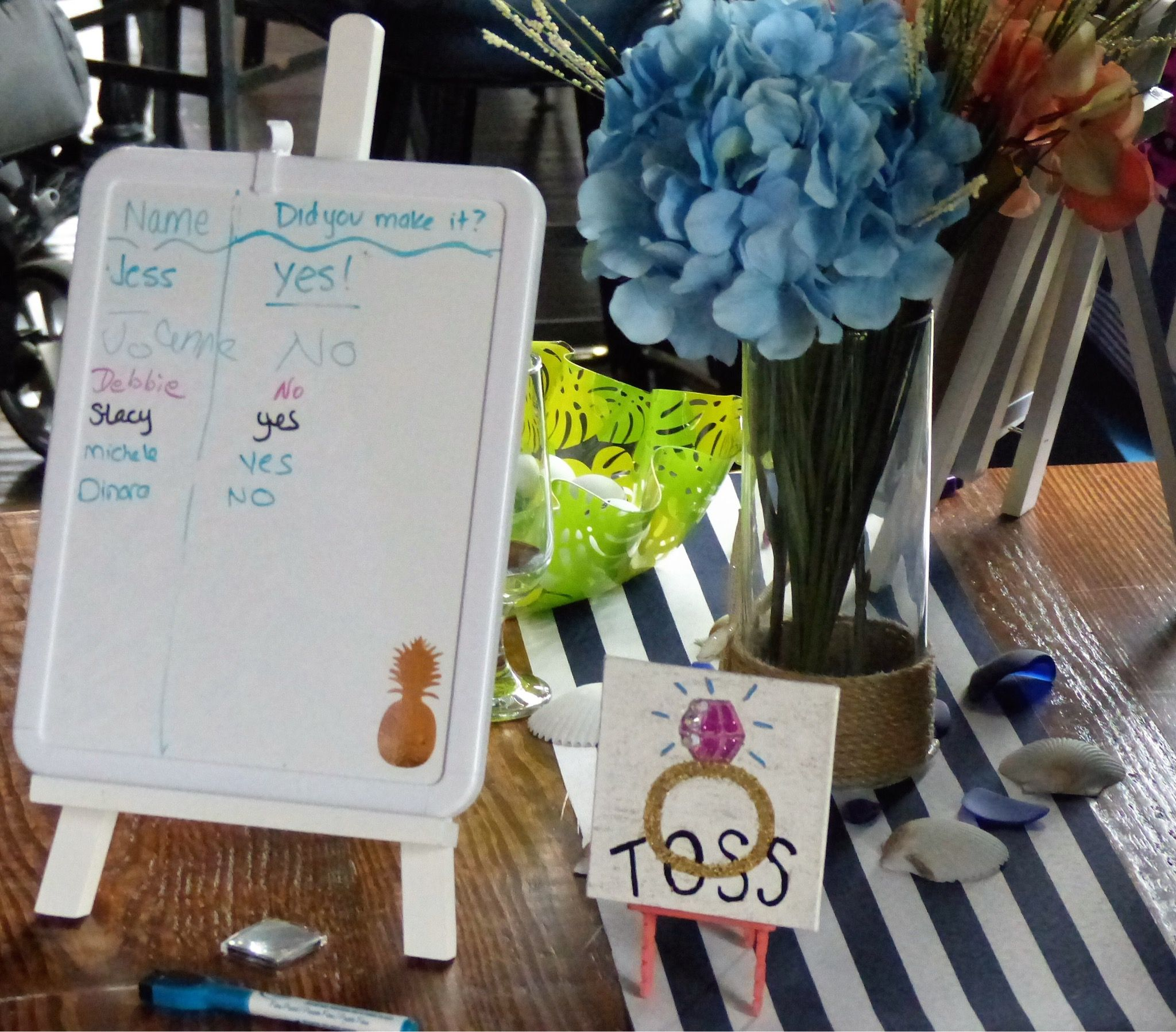 Dry Erase Board And Art Easel Score Board And Hand Painted Mini Ring Toss Sign Displayed On A Mini Easel Art Easel Sign Display Hand Painted
