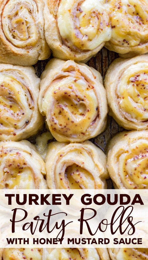 Turkey Gouda Party Rolls With Honey Mustard Glaze | Nourish and Fete