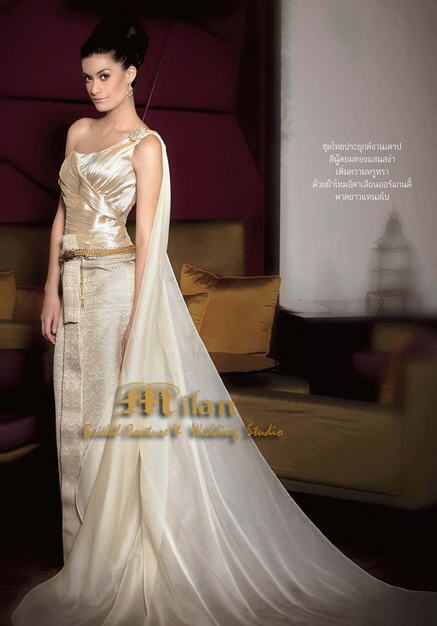 8f8110ce840 Milan Bridal in Thailand Gold Traditional Thai Wedding Dress