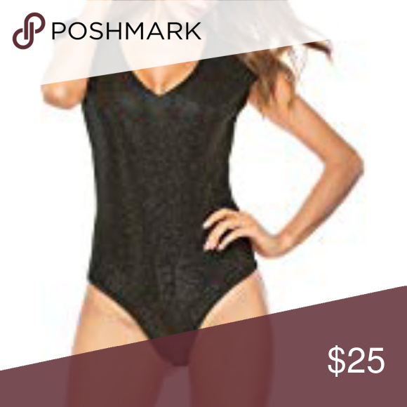 Black sequin bodysuit Never worn! Sleeveless black sequin bodysuit. Snaps  closed in the crotch ed8db4306
