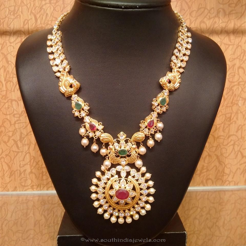 Latest gold necklace designs in grams pachi necklace latest jewellery - Gold Pachi Work Haaram Designs
