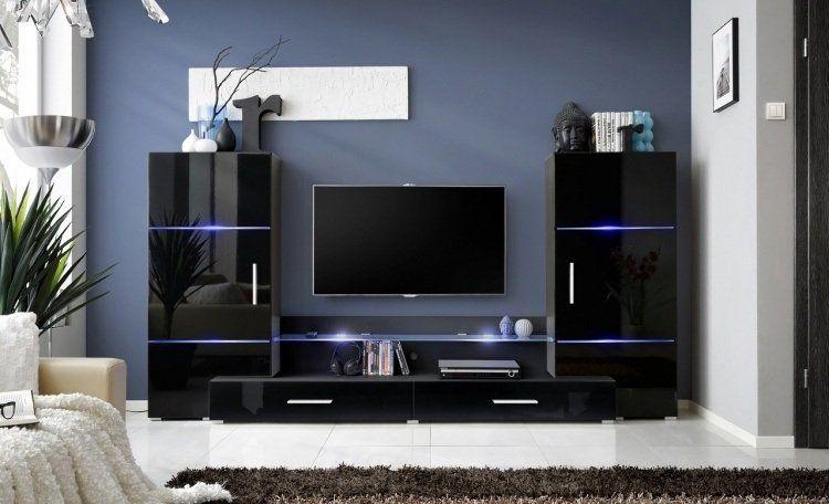 Ensemble Mural Tv Noir Finition Brillante A Led Bleu Armoires Et Tiroirs De Design Elegant Et Moderne Ensemble Meuble Tv Meuble Tv Meuble Tv Moderne