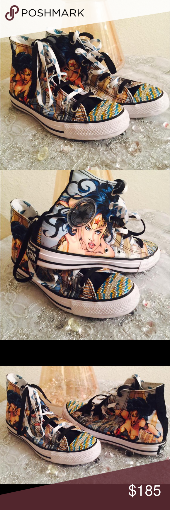 2fdc9790a1ca Custom Wonder Woman Converse (Made to Order) Obsessed with Wonder Woman  like I am  Rock the soles to prove it! I ll make these to Order for you.