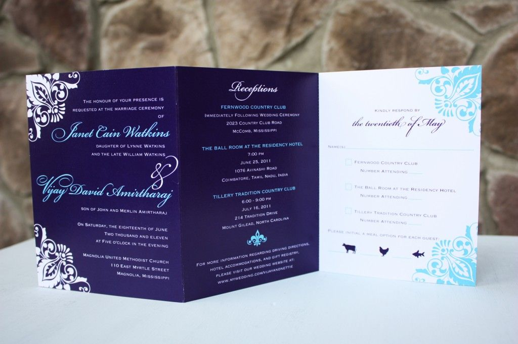 Deep purple and bright blue indian trifold wedding invitation deep purple and bright blue indian trifold wedding invitation solutioingenieria Choice Image