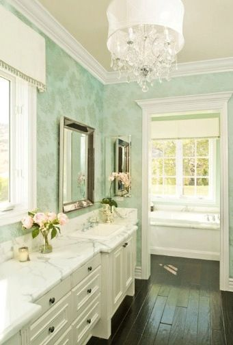 gorgeous ivory turquoise blue master bathroom design with turquoise blue patterned wallpaper beaded beveled mirror white bathroom vanity cabinet with - Bathroom Ideas Mint Green