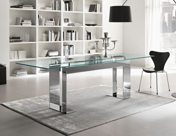 Miles Italian Designer Glass Dining Table Handmade In Transparent Tempered Glass With Base In Chrome โต ะประช ม