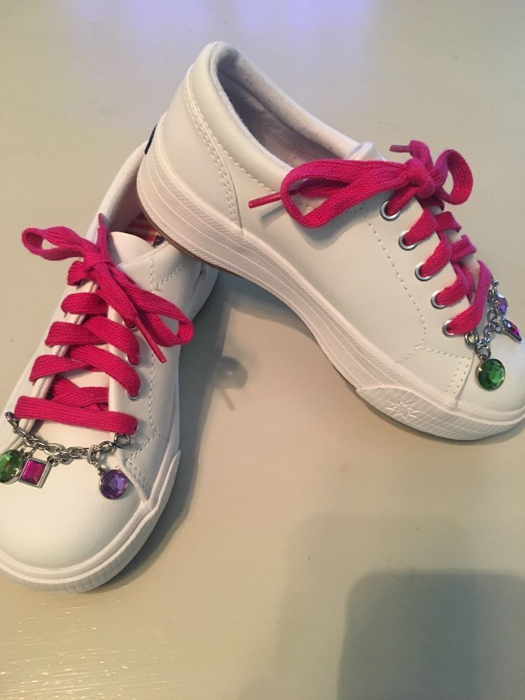 9edc8fb74e048 NIB GIRLS WHITE LEATHER Keds SHOES W/ CHARMS SIZE 13.5 13 1/2M ...