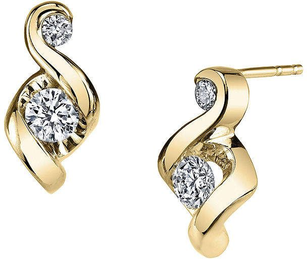 022039f83 Sirena Juno Lucina 1/5 CT. T.W. Diamond 14K Yellow Gold Swirl Stud Earrings