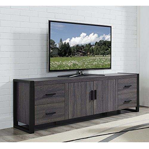 We Furniture 70 Industrial Wood Tv Stand Console Charco Https Www Amazon Com Dp B001tqtgvi Ref Cm Sw R Tv Stand Wood Tv Stand With Storage Grey Tv Stand