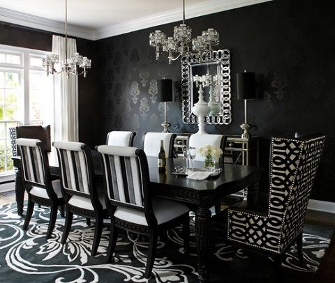 Black And White Decor Part 2 Choosing The Right Room Black And White Dining Room Dining Room Wallpaper Luxury Dining Room Black and white dining room