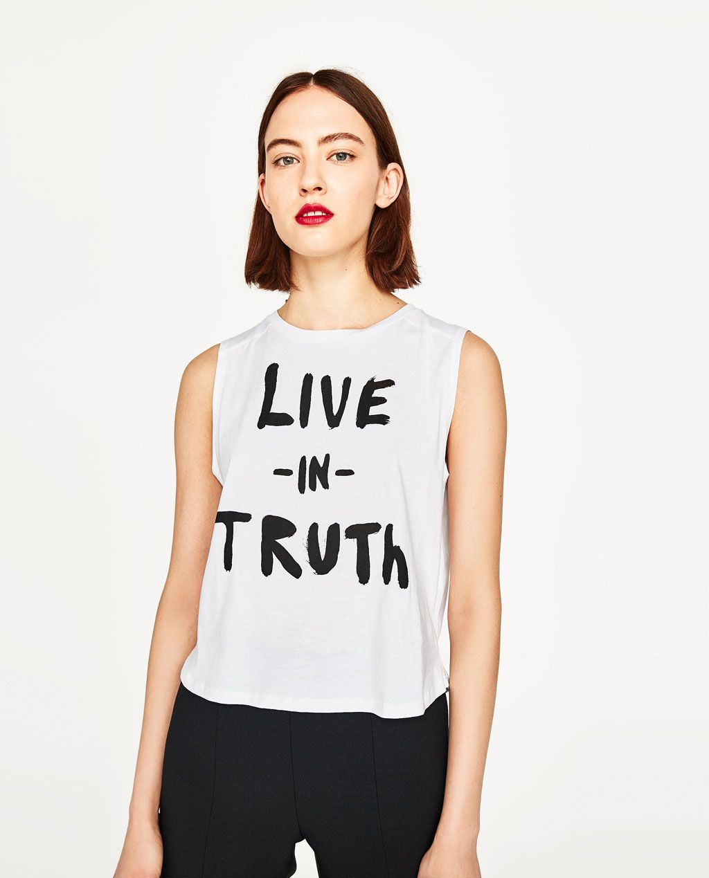 959220c7450 Image 2 of TEXT PRINTED T-SHIRT from Zara | words | White shirts ...