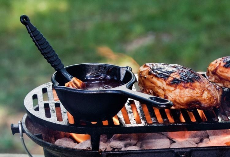 Hibachi Charcoal Grill Cast Iron Small Portable BBQ Steaks Hamburgers  Sausages