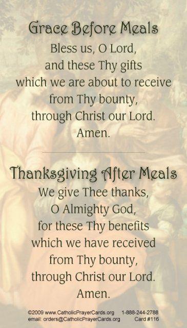 meal prayers card prayers