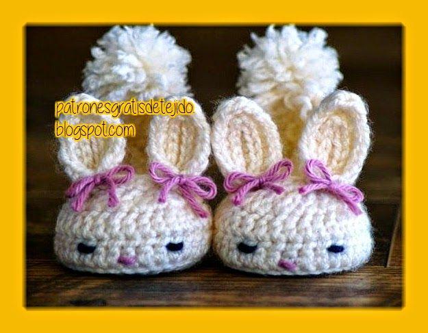 Patucos conejos patrones   Ganchillo   Pinterest   Conejo, Zapatos ...
