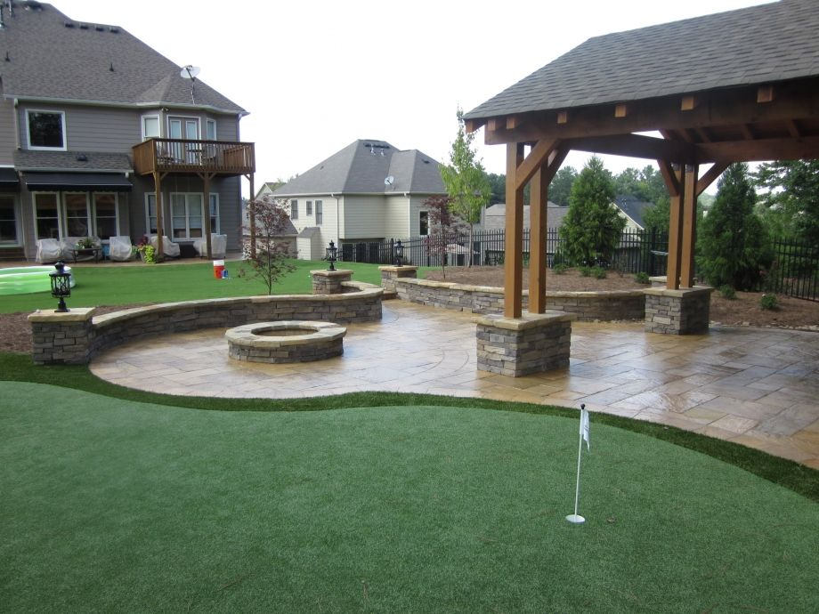 Stamped Concrete, Patio Roof Cover, Masonry Seating Walls, Synthetic Grass  Putting Green