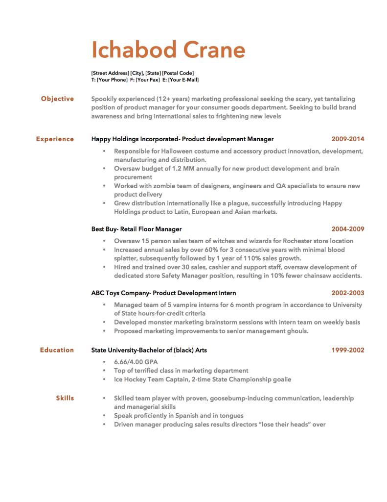 Free Halloween Resume Template  Resume Genius Creative Resumes