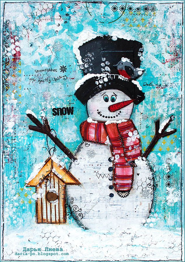 Snowman. Mixed media collage. Size 21*30 cm. Made by Daria