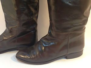 glossy-BANDOLINO-Italian-vintage-brown-leather-pull-on-riding-boots-7