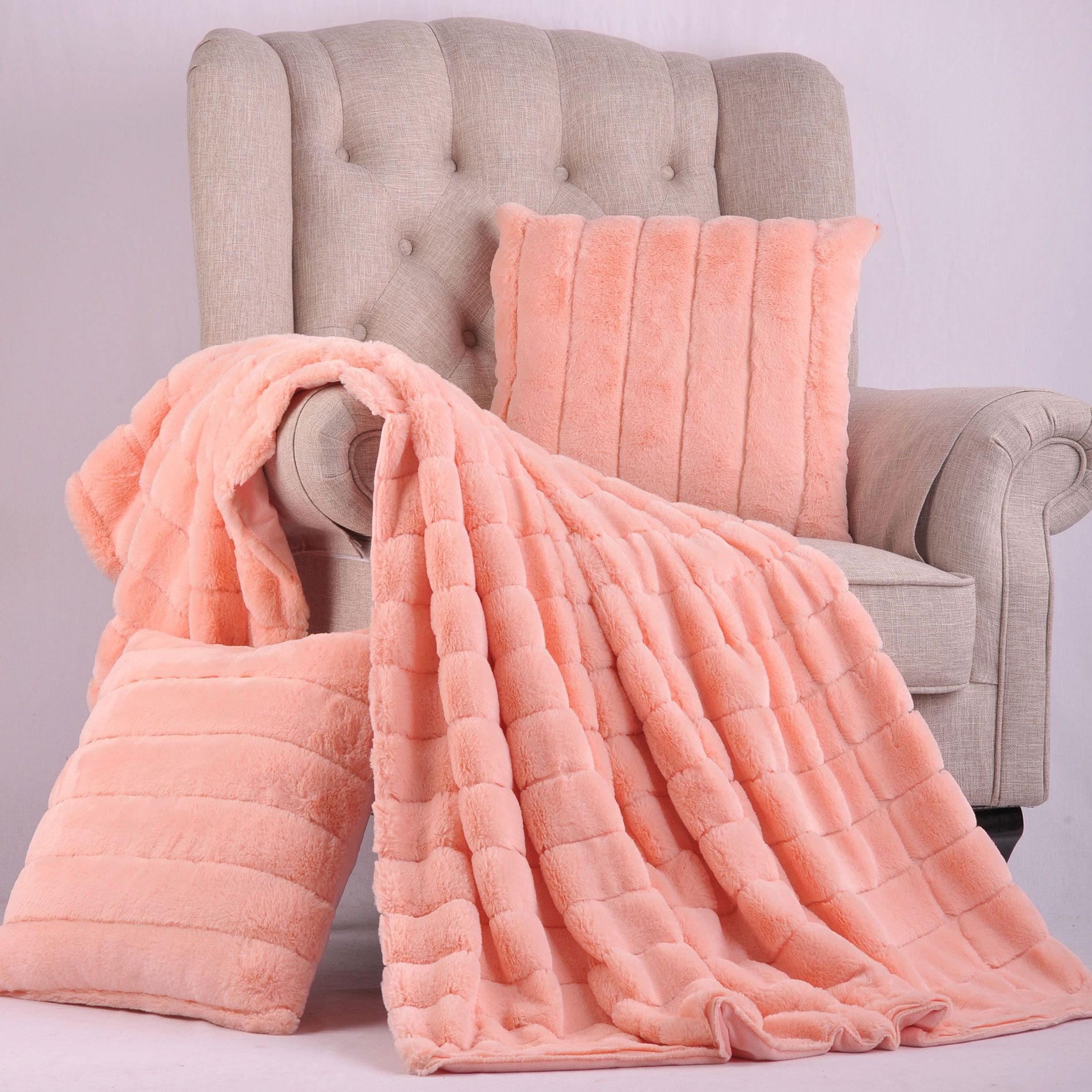 Peach Echo Rabbit Faux Fur Throw Blanket And Pillow Set Combo The Combination Is A Complete Layout For Any Home