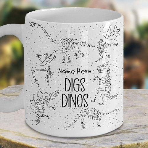 Personalize Dinosaur Mug-Dinosaur Mug-Fossil Mug-Dino Mug-Paleontology Mug-Funny Dinosaur Mug-Diggin' Dinos-Dinosaur Fossil-Dinosaur Doodle #dinosaurfossils