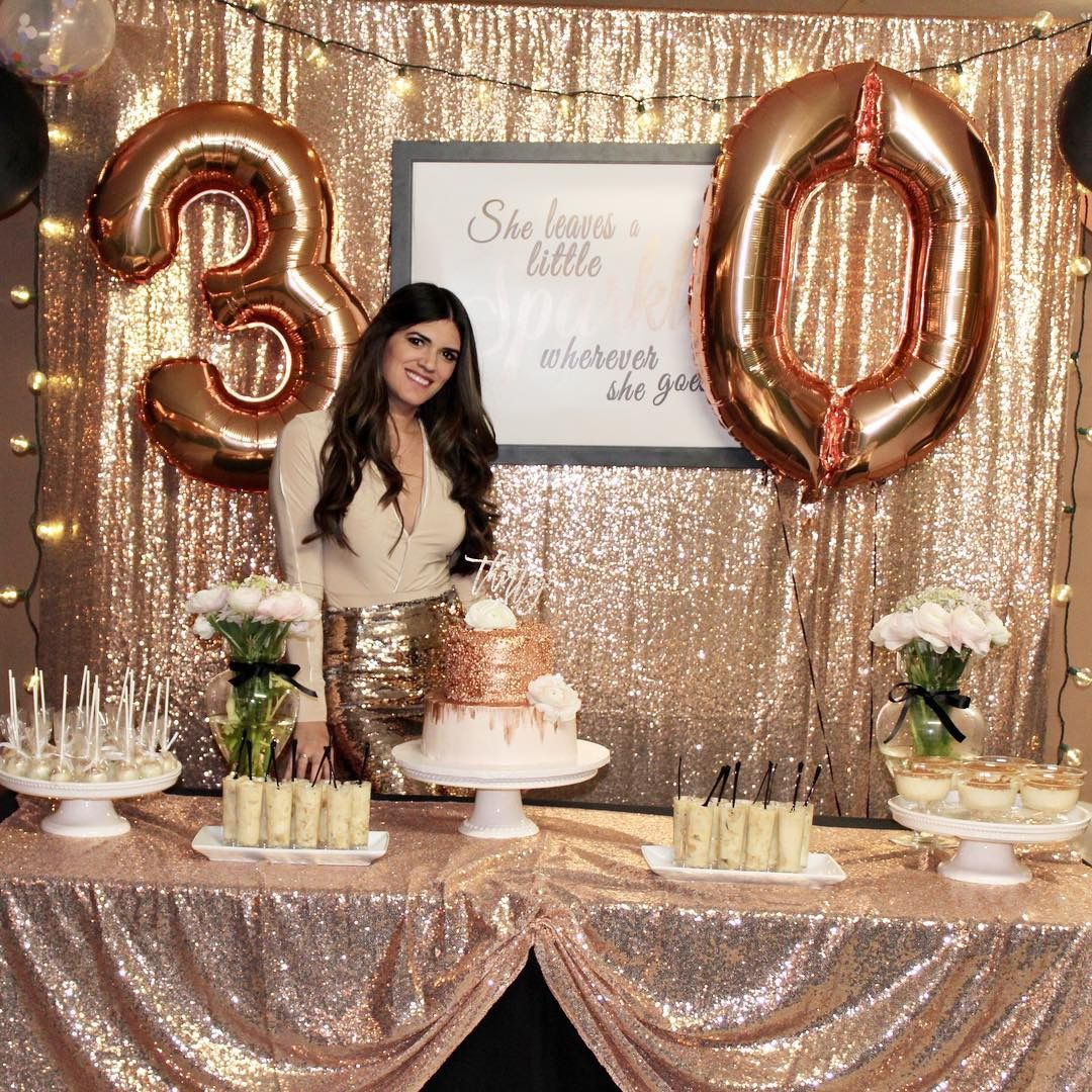 30th birthday rose gold backdrop, rose gold cake table