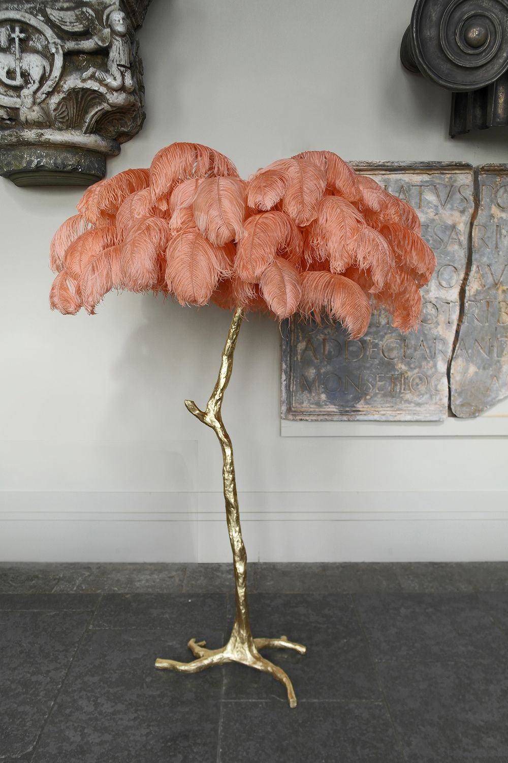 Hollywood Regency Style Palm Tree Floor Lamp Hand Made In Oxfordshire England Finished In Gold Leaf Or Liquid Bron Feather Lamp Coral Interior Feather Decor