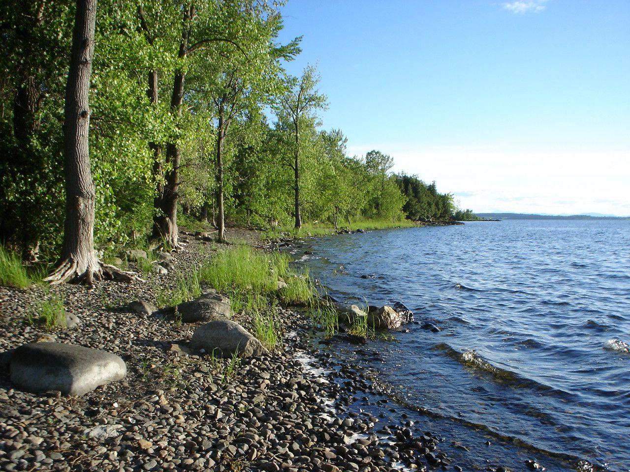 Island shoreline on lake champlain burton island state
