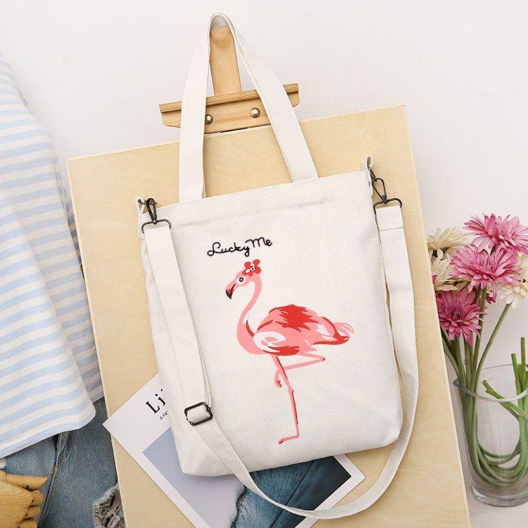 Download J Q Store Popular New Flamingo Printed Canvas Bag Detachable Shoulder Straps Female Shopping Bag Girl 2 Jpg Canvas Bag Design Flamingo Bag Canvas Tote Bags