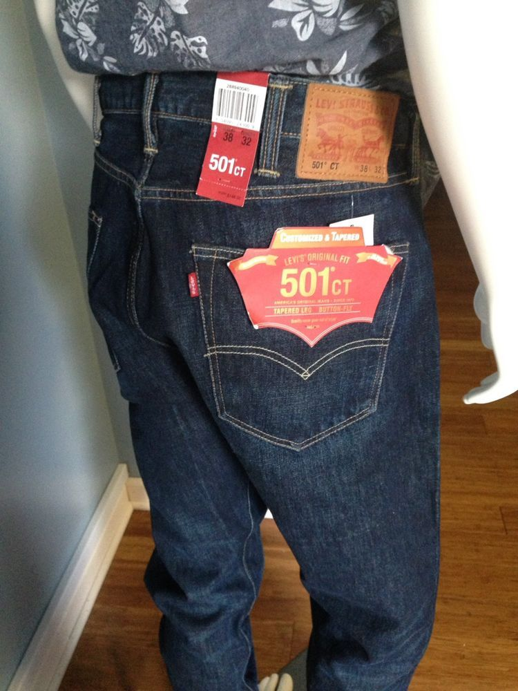 e8db7b4e Mens 501CT Levis Jeans Tapered Leg Button Fly WHITE OAK CONE Denim Darkwash  $148 | eBay