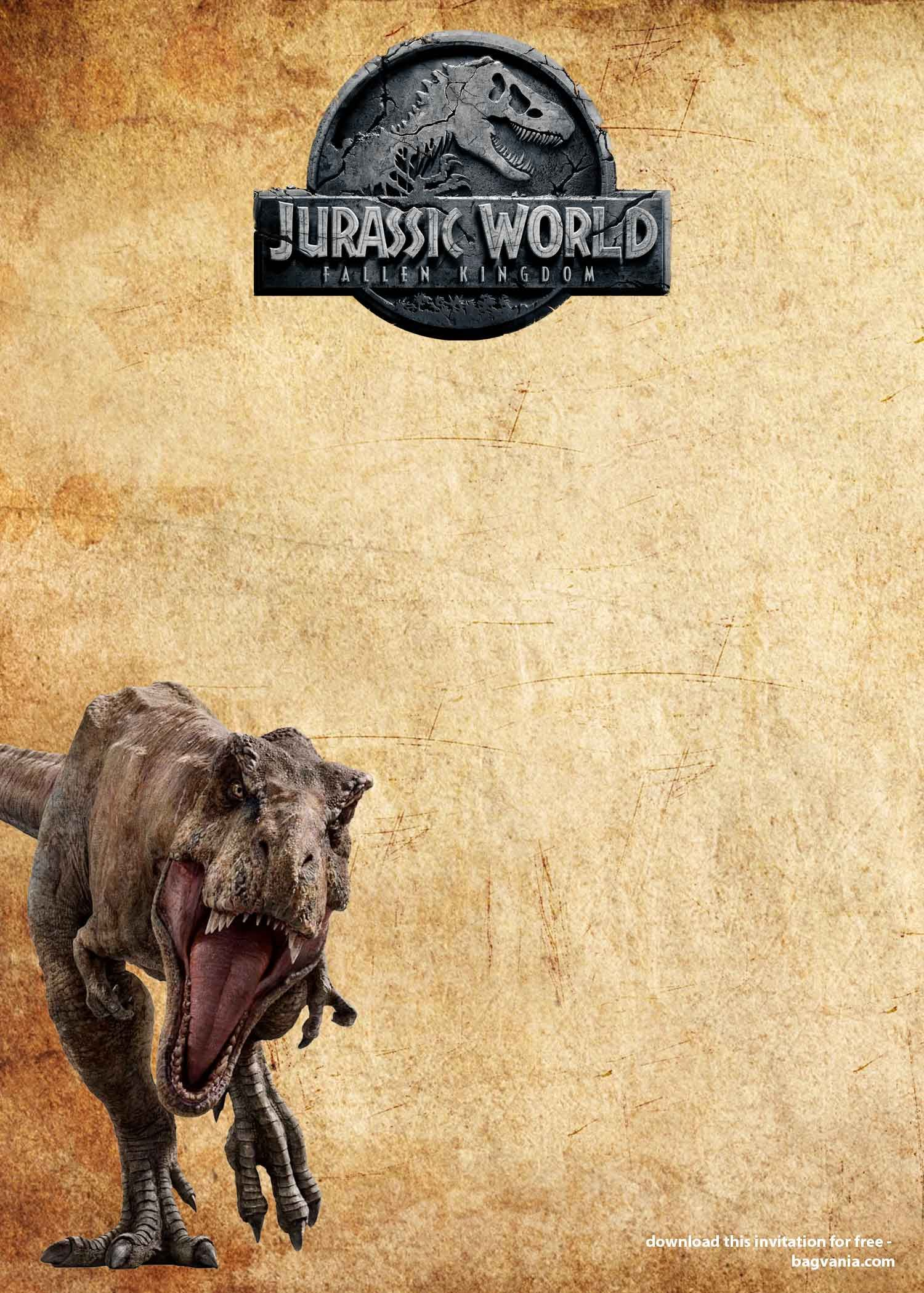 FREE Jurassic Park Dinosaurs Vintage Invitation Templates  DREVIO
